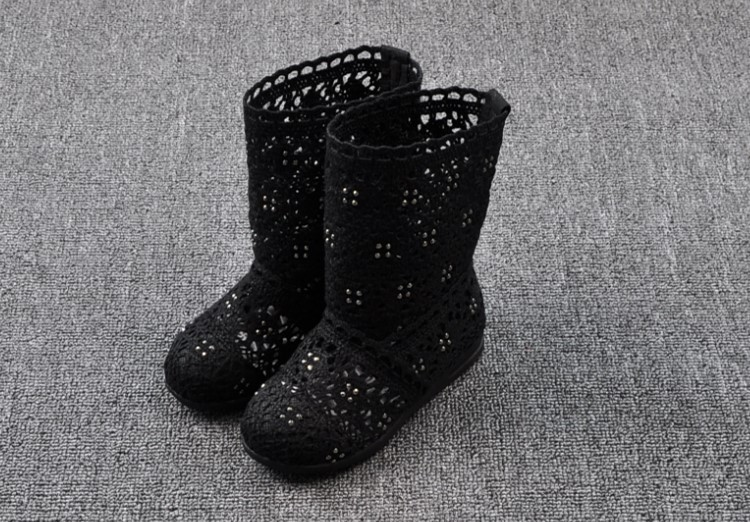 (A241)18 Classical Kids Shoes Summer Girls Boots Knitting Hollow Children Shoes Fashion Network Boots For Girls 22