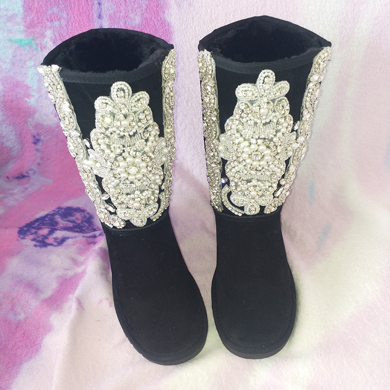high black Crystal Rhineston Snow Boots Woman Winter women's bling bling Pearl flowers Winter Shoes handmade snow boots tassels feather crystal rhineston snow boots woman winter luxury women s bling bling snow boots warm shiny fashion winter shoes