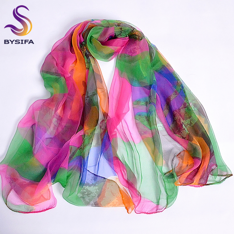 [BYSIFA] Ladies Long Silk   Scarf   2016 New Design Fashion Apparel Accessories Women Green Pink   Scarves     Wraps   For Women 170*110cm