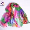 Ladies Long Silk Scarf 2016 New Design Fashion Apparel Accessories Women Green Pink Scarves Wraps For Women 170*110cm