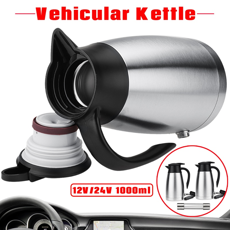 Warmtoo 12/24V 1000ml Portable Car Electric Kettle Stainless Steel Camping Travel Universal Hot Water with Cigarette Holder Plug