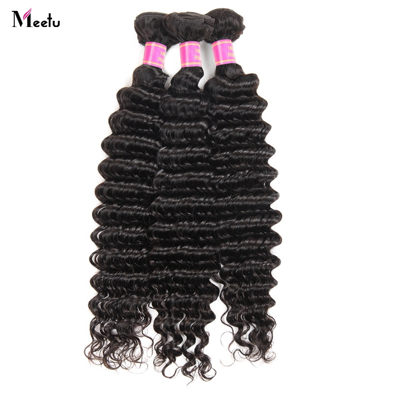 Meetu Indian Deep Wave Hair Bundles 100% Human Hair Natural Color Non Remy Hair Machine Double Weft Hair Extensions No Tangle