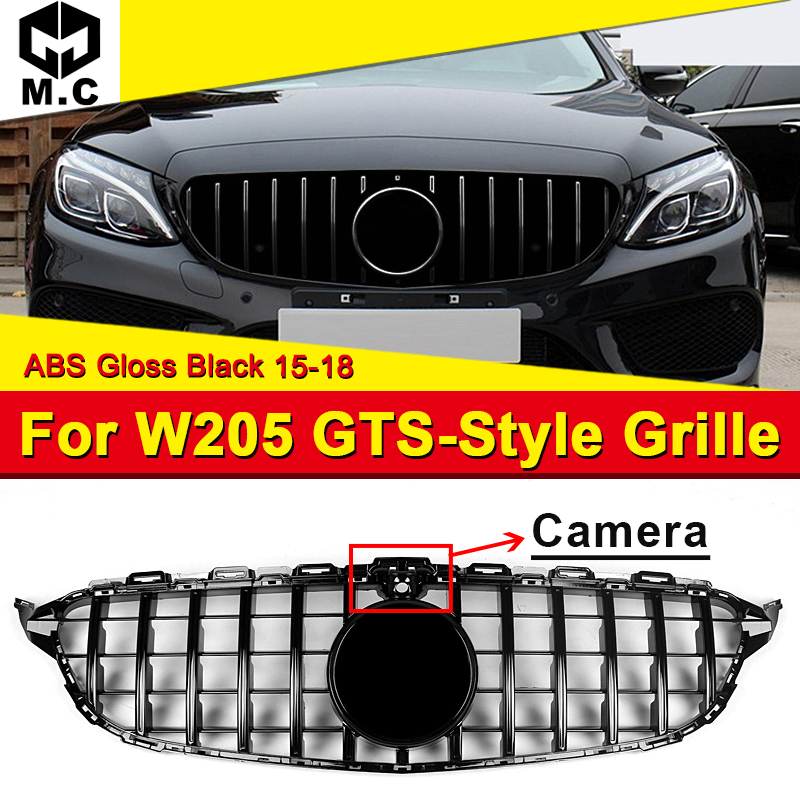 W205 Sports Grille Mesh GTS Style ABS Black Grill with Camera Fits For W205 C180 C200 C230 C250 C280 Grills Without Sign 2015 18 in Racing Grills from Automobiles Motorcycles