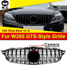 W205 Sports Grille Mesh GTS Style ABS Black Grill with Camera Fits For C180 C200 C230 C250 C280 Grills Without Sign 2015-18