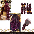 99j 7A Mink Eurasian Loose Wave 5 Pcs Lot Dark Red Human Hair Brazilian Virgin Hair Burgundy 4 Bundles With 4x4 Closure Red Wine