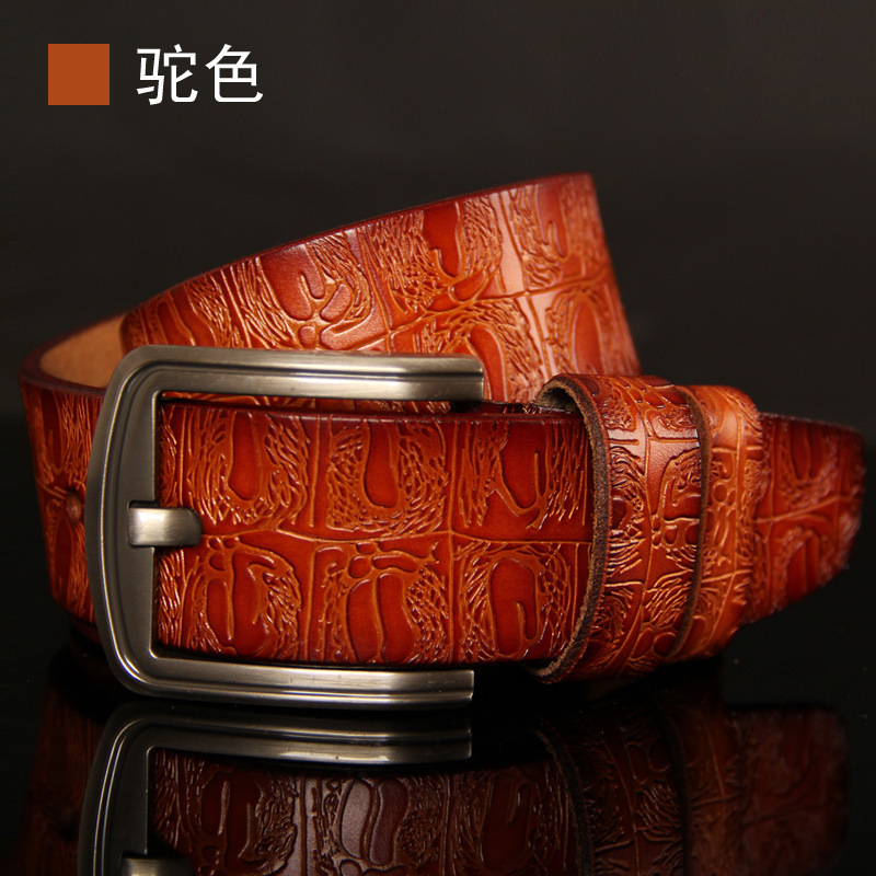 3dec32a60 חגורות - 2018 Genuine Cowskin Leather Belts For Women Carved Design ...