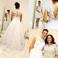 Dos En Uno Desmontable 2016 Nueva Sexy Cap Manga de Encaje Blanco vestido de novia casamento vestido de novia robe de mariage Vestido de noiva
