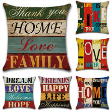 SBB new style Retro Proverbs Mediterranean Sea Hand-painted Letter linen Printing Cushion Cover Sofa Bedroom Decorative