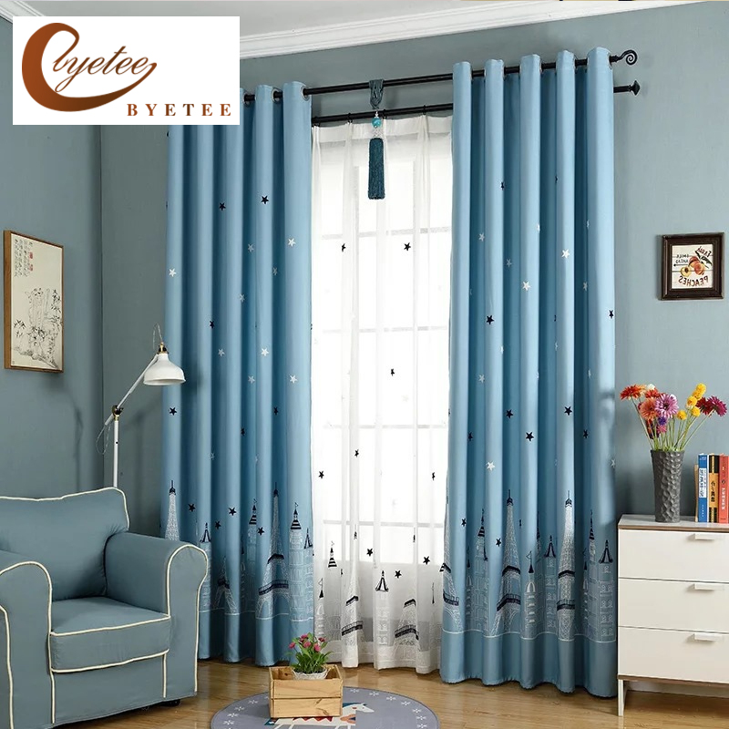 Byetee cartoon children blue bedroom window blackout - Childrens bedroom blackout curtains ...