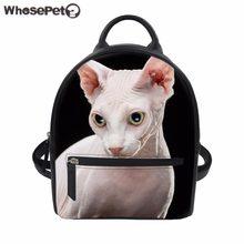 39da7f269e79 WHOSEPET Backpack Women Kitty Cat Sphynx Canadian Hairless PU Leather Bag  Teenager Girls School Backpack Female Bolsa Mochila