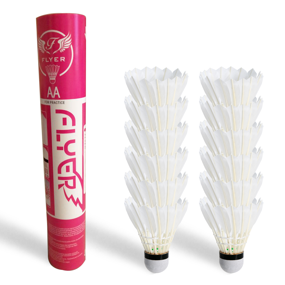 Badminton Shuttlecocks 12 Pack Goose Feather Birdies Ball White Goose Feather Shuttlecock Badminton Balls Accessories