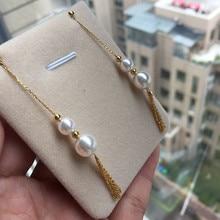 Eternal wedding Women Gift word 925 Sterling silver real Long-lasting natural Akoya seawater pearl earrings ear chain 8.5-9 6.5-