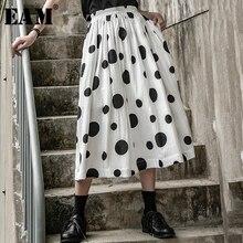 [EAM] 春夏新作高弾性ウエスト黒ドットプリントスプリットジョイントプリーツ半身スカート女性のファッション潮 2019 JX101