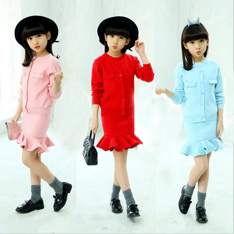 Girls Autumn O-Neck Plaid Sweater Two Pieces Dress Sets Kids Children Long Sleeve Knitted Dress Sets New English style 2018 girl sweater dress superfine wool knitted dress 2015 o neck pocket long sweater tassels christmas children clothing kids dresses