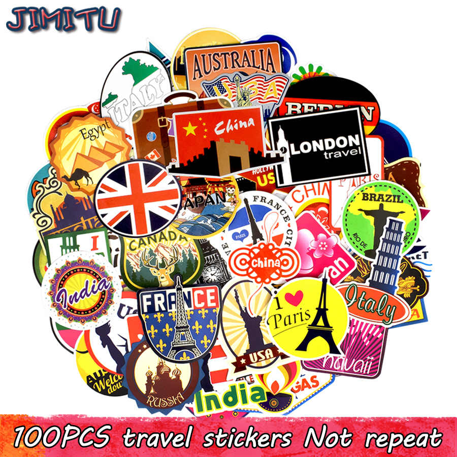 100 PCS Travel Waterproof Stickers Retro Building Graffiti World Journey Sticker to DIY Luggage Laptop Suitcase Fridge Bicycle