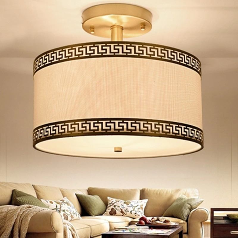 Chinese New Classical copper LED Ceiling Lights Vintage suspension fabric lights retro living room bedroom cooper Ceiling lamps|Ceiling Lights| |  - title=