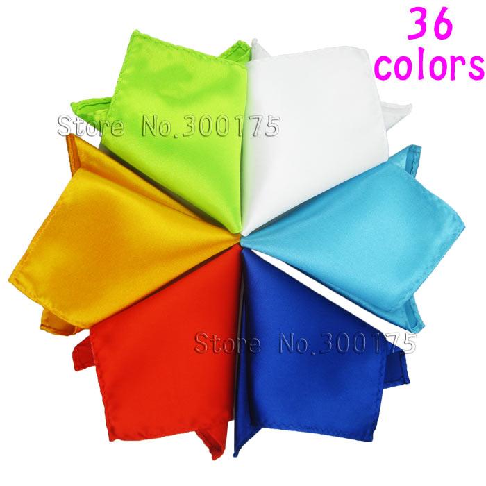 Men Satin Pocket Square Hankerchief Hanky Plain Solid Color Wedding Party Accessories Hanky
