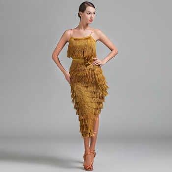 Lady Latin Clothes Fringe Dresses Salsa Latin Cha Cha Dancing Skirt Of Woman Red Green Gold Ballroom Practice Wear Baju Latin