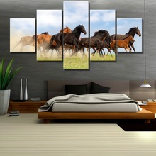 HD Print 5 Piece Galloping Horses Prairie Cuadros Landscape Canvas Wall Art Home Decor For Living Room Painting(Frame)