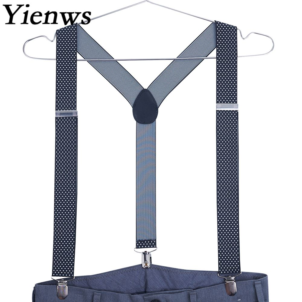 Yienws Suspensorio Vintage Suspenders For Men Jacquard Braces For Trousers Button Pants Suspenders Red Black Dot YiA003