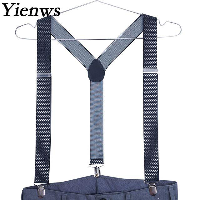 caa35c867e Yienws Suspensorio Vintage Suspenders for Men Jacquard Braces for Trousers  Button Pants Suspenders Red Black Dot YiA003