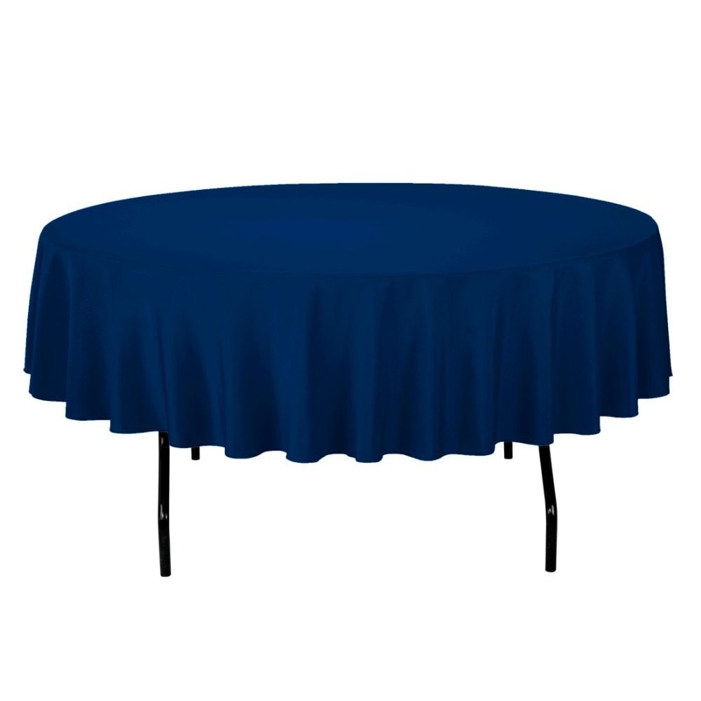 HK DHL Stain Feel 90 inch/230cm Polyester Round Tablecloth Navy for Wedding, 5/Pack