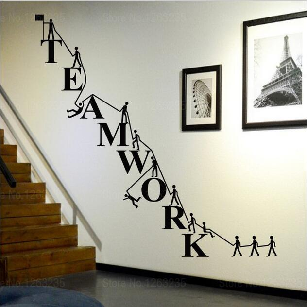 Home Art Decor Wall Decals ~ W cooperate teamwork wall stickers home decor