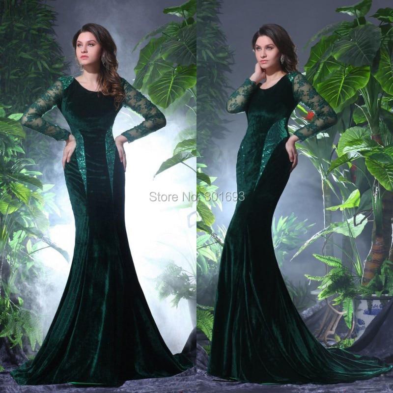 One176 Elegant Mermaid Emerald Green Long Sleeve Velvet