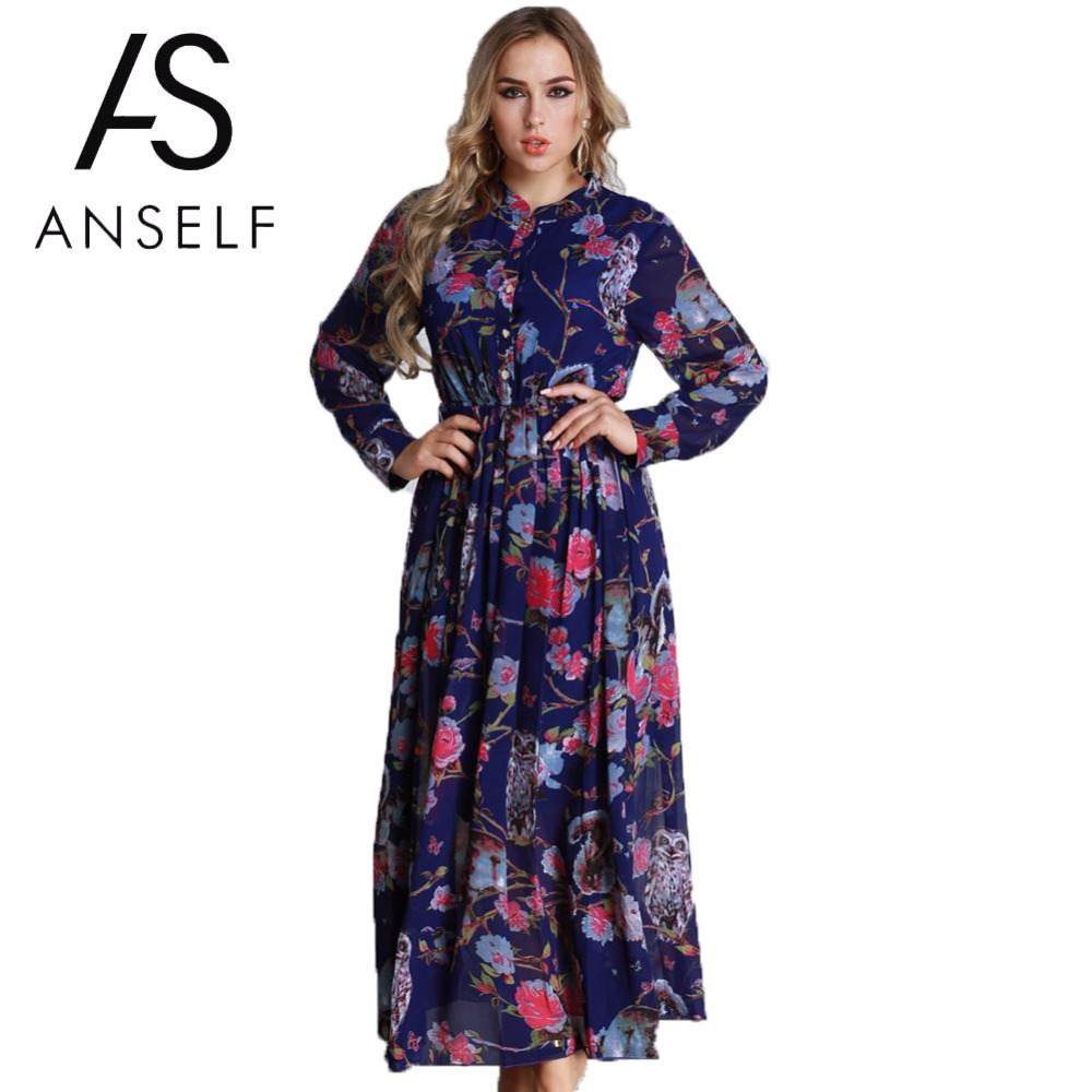 US $26.89 32% OFF|ANSELF 3XL 5XL 6XL Plus Size Chiffon Dresses Women Floral  Maxi Dress Long Sleeve Button Front A Line Elegant Shirt Dress Vintage-in  ...