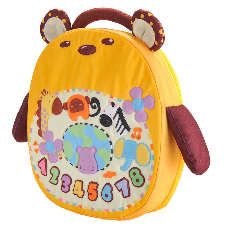 YiQu 1 yellow ABS + plush cartoon bear car hanging music to comfort doll plush doll thickening bag without batt