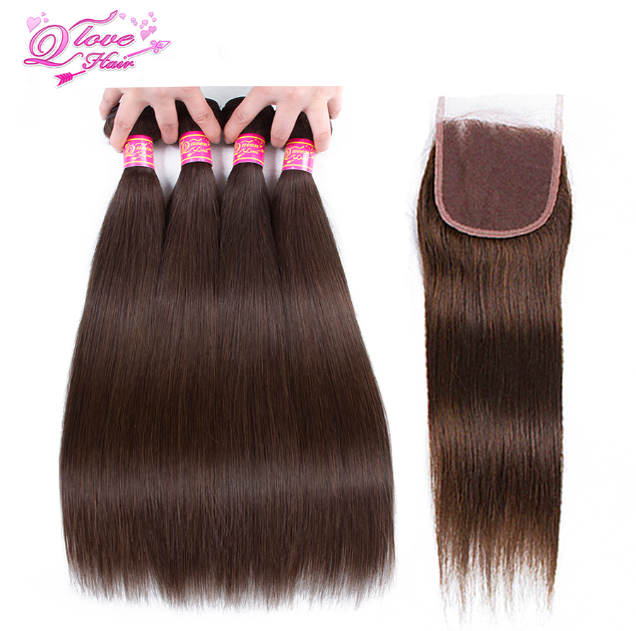Queen Love Hair Pre-Colored Straight Malaysia Hair #2 Color Non Remy 4 Bundles With Lace Closure 100% Human Hair