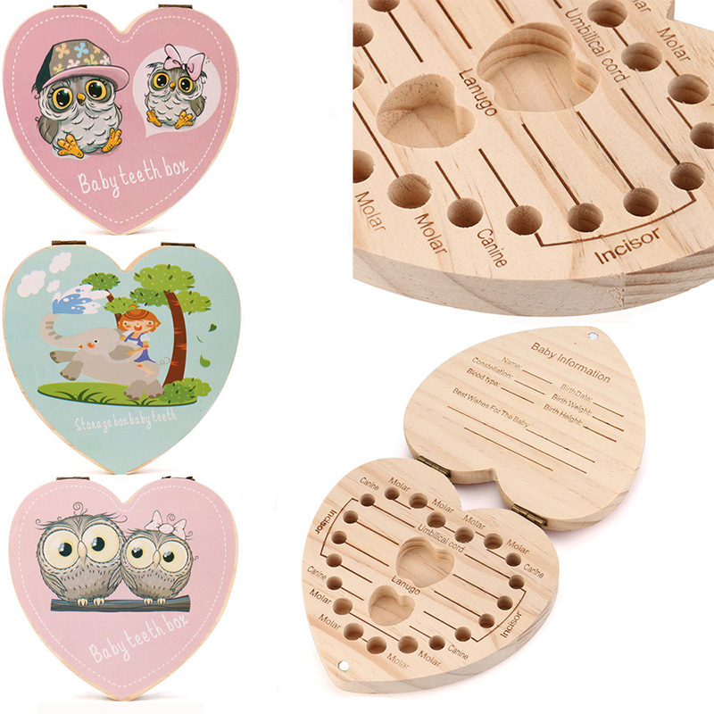 Baby Heart Shape Tooth Box Cartoon Owl/Elephant English Tooth Box Organizer Baby Save Milk Teeth Wood Storage Box Gift For Child