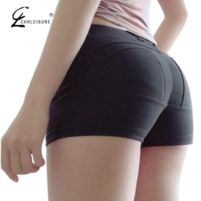 CHRLEISURE S-XL 3 Colors Sexy Push Up Black Women Shorts Summer Solid Skinny Cotton Shorts 2017 New Fashion Short Feminino