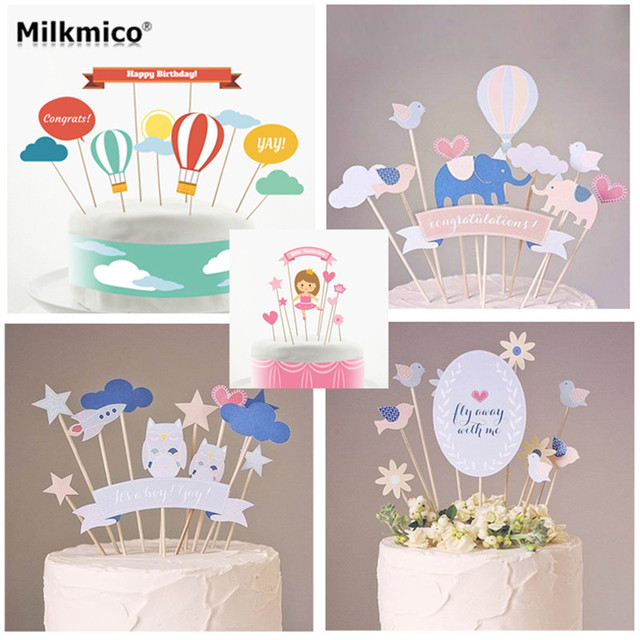 11pcs/set Baby Shower Cake Toppers Kids Happy Birthday Theme Cake Decor  Wedding Party Baking