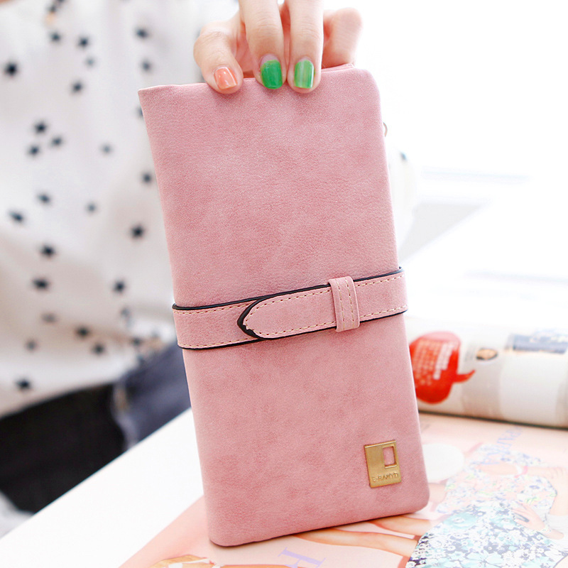 Hot Sale Fashion Women Wallets Nubuck PU Leather Coin Purse Drawstring Female Purse Ladies Long Brand Design Card Holder Wallet 2017 hottest women short design gradient color coin purse cute ladies wallet bags pu leather handbags card holder clutch purse