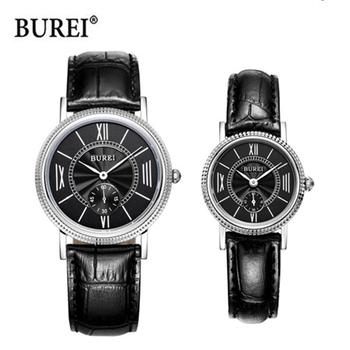цена BUREI Luxury Brand Watch Men Women Couple Lover's Casual Quartz Wrist Watch Clock Waterproof Hours Relogio Masculino Feminino онлайн в 2017 году