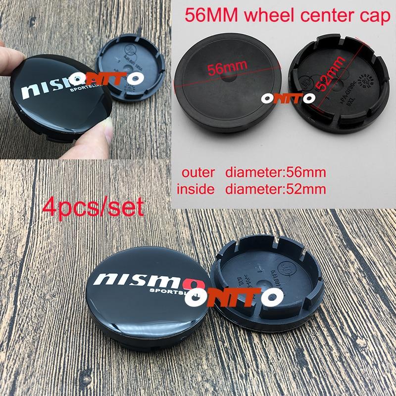 4PC Accessorie 56mm 2.2inch NISMO SPORTS LING logo Dust-proof Wheel Center Cap Cove For Tiida Teana Skyline Juke X-trail Almera