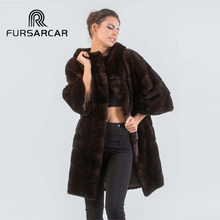FURSARCAR Women Real Mink Fur Coat 2018 Winter New Fashion Female Jacket O-Neck Whole Skin Natural Outwear
