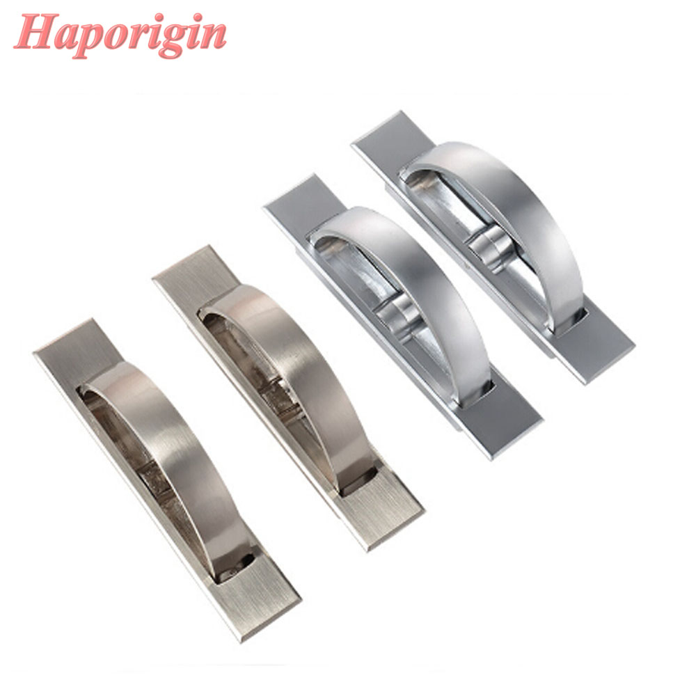 Hidden Handle Tatami Kitchen Cabinet Drawer Handles Rotating Platform Invisible Handle Embedded Furniture Wardrobe Cupboard Pull