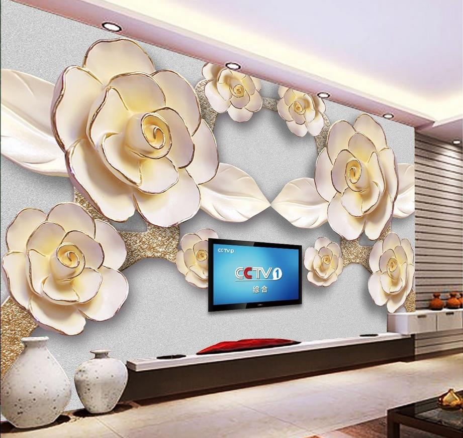 3d wallpaper flower relief mural backdrop 3d wall murals for 3d wallpaper for home decoration