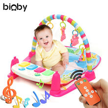 Kids Children Fitness Rack Floor Rug Baby Musical Developing Gym Mat Baby Toys Piano Music Blanket Play Intellectual Development(China)