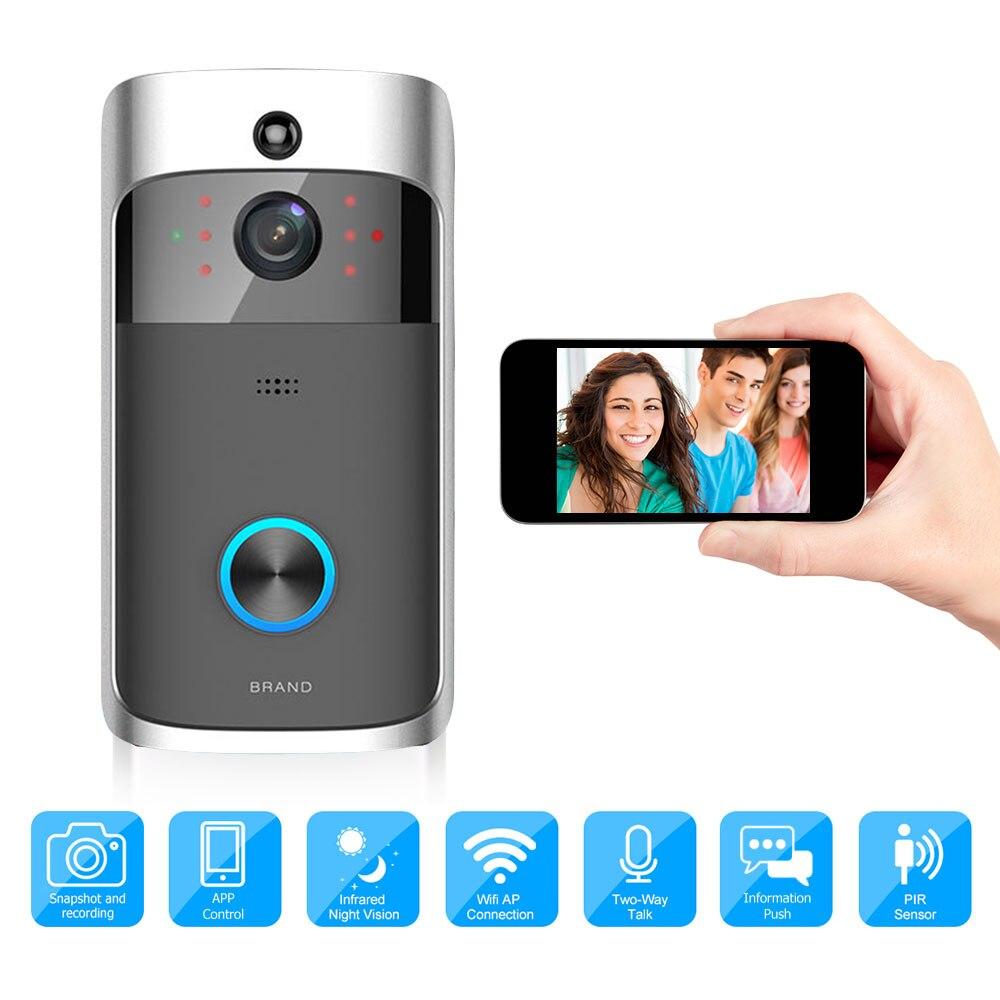 Inteligente timbre Video WiFi inalámbrico de seguridad timbre grabación Visual de bajo consumo de Energía Remoto monitoreo por teléfono inteligente