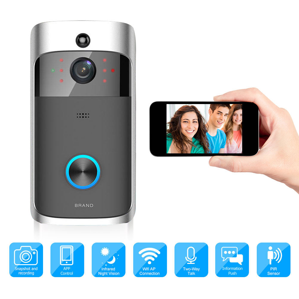 Smart Video Doorbell WiFi Wireless Security DoorBell Visual Recording Low Power Consumption Remote Home Monitoring By Smartphone smart wireless wifi security video intercom doorbell visual recording consumption remote home doorbell video door bell ring cam