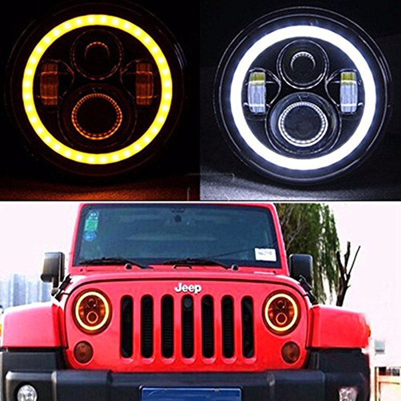 7INCH Round LED Headlight light lamp High/Low Beam with Halo Angel eye Ring for Jeep Wrangler Hummer  CJ TJ JK Harley 7inch round black left hand led headlight hi low beam 80w high bright driving lamp for jeep harley
