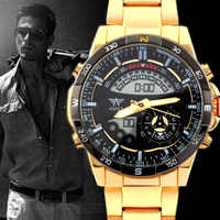 AMST Mens Watches Analog Digital Led Sports Watches Men Gold Plated Clock Dual Display Military Watches Male Relogio Masculino