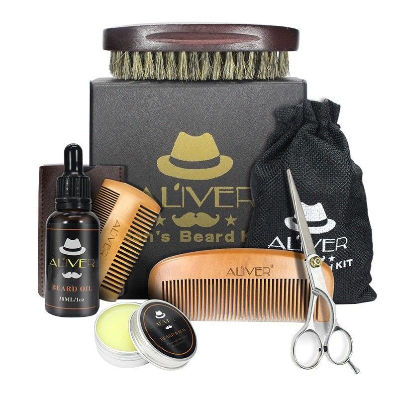 Kit de aceite de barba para hombre con aceite de barba, cepillo, peine, tijeras de crema para la barba, Kit de cuidado de la barba para hombre