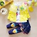 Calor! 2016 nova primavera outono terno do bebê da menina do laço 100% algodão terno casaco + T-Shirt + calças 3 pcs set crianças Marcas grátis grátis