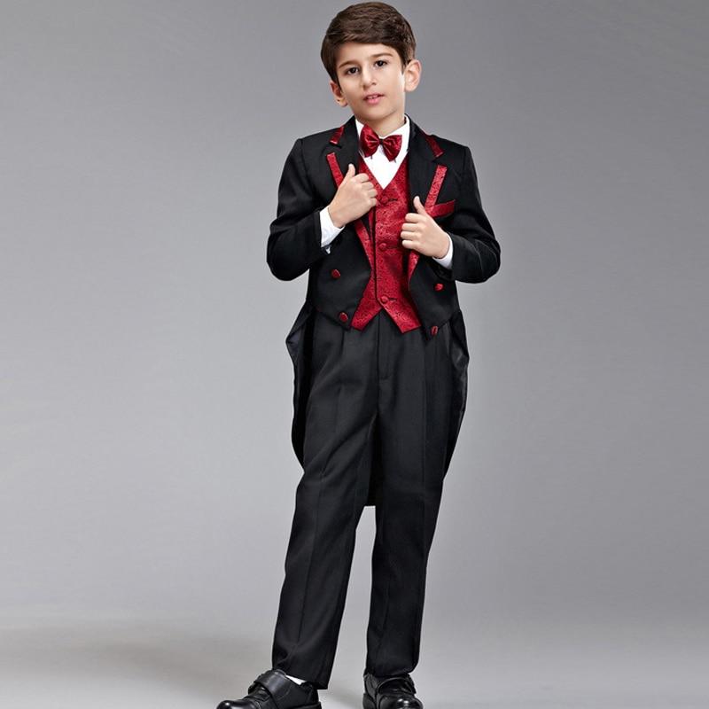 Tuxedo Suit For Kids 6 Piece (Jacket+Pants+Vest) 2017 Brand Tailcoat Suits Boys Blazers  ...