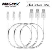 MaGeek [3-Pack] 1m Mobile Phone Cables MFi Certified Lightning to USB Cables for iPhone Xs Max X 8 7 6 5 iPad Air iOS 11 10