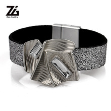 ZG 19cm Latest Fashion Women Leather Bracelet in Summer with Crystal Charm 2 Colors